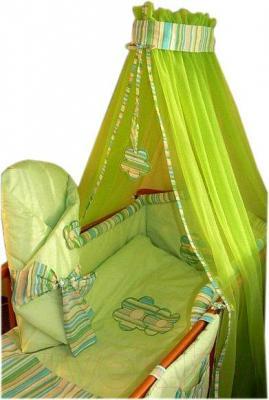 Комплект в кроватку Ankras Цветы 3 (зеленый) - балдахин в комплект не входит