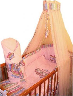 Комплект в кроватку Ankras Цветы 3 (розовый) - балдахин в комплект не входит