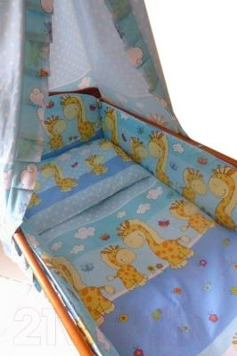Комплект в кроватку Ankras Стандарт: Горох-Жираф 6 (голубой) - общий вид