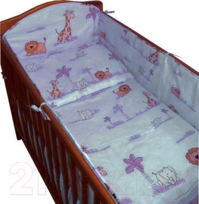 Комплект в кроватку Ankras Стандарт: ЗОО 6 (голубой) - общий вид