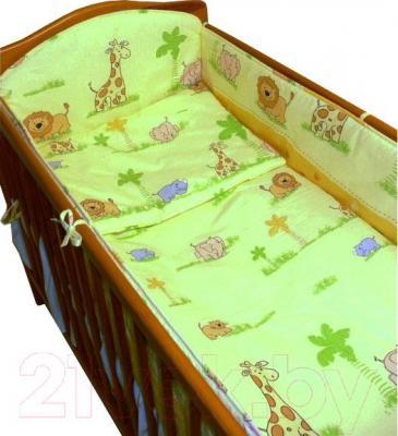 Комплект в кроватку Ankras Стандарт: ЗОО 6 (зеленый) - общий вид