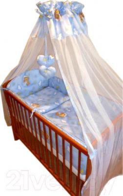 Комплект в кроватку Ankras Стандарт: Мишки в гамаке 6 (голубой) - общий вид