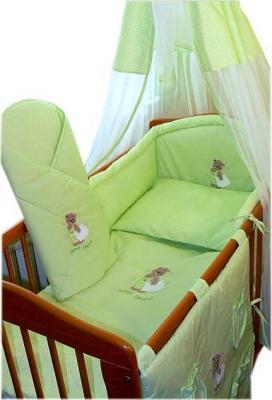 Комплект в кроватку Ankras Сладкий сон: Мишка с подушкой 6 (зеленый) - балдахин в комплект не входит