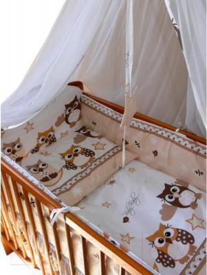 Комплект в кроватку Ankras Совы 6 (бежевый) - балдахин в комплект не входит