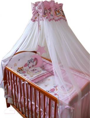 Комплект в кроватку Ankras Совы 6 (розовый) - балдахин в комплект не входит
