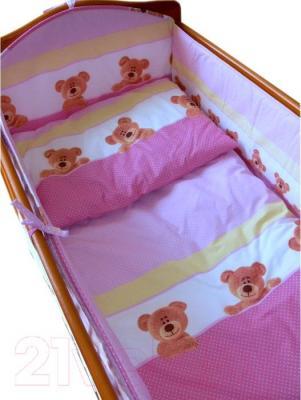 Комплект в кроватку Ankras Стандарт: Мишки-Точки 6 (розовый) - балдахин в комплект не входит