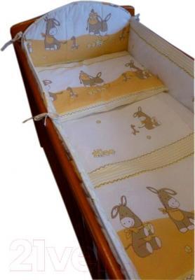 Комплект в кроватку Ankras Стандарт: Ослики 6 (бежевый) - общий вид