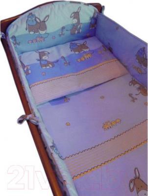 Комплект в кроватку Ankras Стандарт: Ослики 6 (голубой) - общий вид