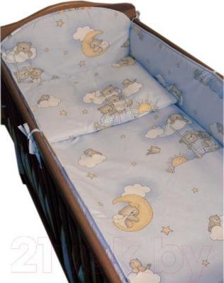 Комплект в кроватку Ankras Стандарт: Мишки на лестнице 6 (голубой) - общий вид