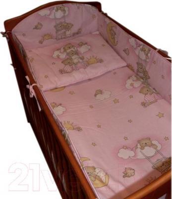 Комплект в кроватку Ankras Стандарт: Мишки на лестнице 6 (розовый) - общий вид