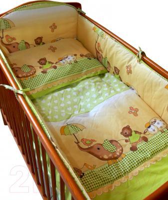 Комплект в кроватку Ankras Стандарт: Слон с зонтиком 6 (зеленый) - общий вид