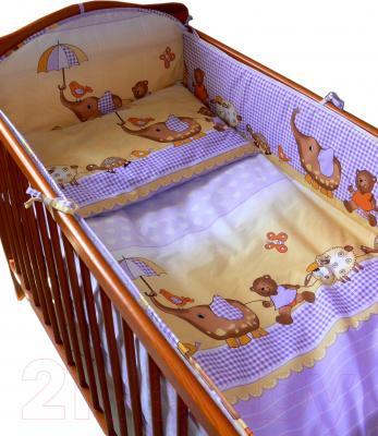Комплект в кроватку Ankras Стандарт: Слон с зонтиком 6 (фиолетовый) - общий вид