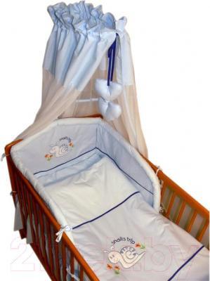 Комплект в кроватку Ankras Улитка 6 (голубой) - балдахин в комплект не входит