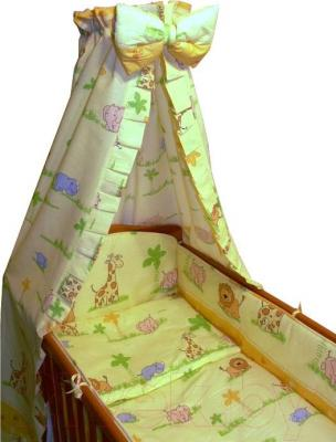 Комплект в кроватку Ankras Стандарт: ЗОО 7 (желтый) - балдахин в комплект не входит