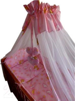 Комплект в кроватку Ankras Стандарт: Мишки в гамаке 7 (розовый) - общий вид