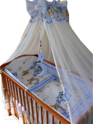 Комплект в кроватку Ankras Совы 7 (голубой) - общий вид