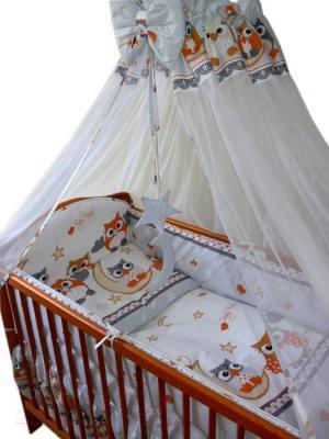 Комплект в кроватку Ankras Совы 7 (серый) - общий вид