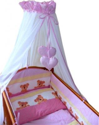 Комплект в кроватку Ankras Стандарт: Мишки-Точки 7 (розовый) - общий вид