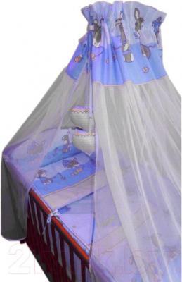 Комплект в кроватку Ankras Стандарт: Ослики 7 (голубой) - общий вид
