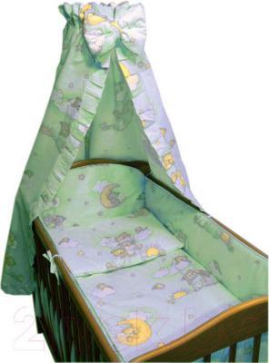 Комплект в кроватку Ankras Стандарт: Мишки на лестнице 7 (зеленый) - общий вид