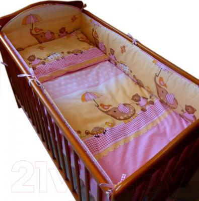 Комплект в кроватку Ankras Стандарт: Слон с зонтиком 7 (розовый) - общий вид