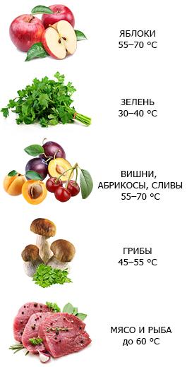 температура сушки овощей и фруктов
